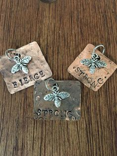 Items similar to Copper Bee- Strong, Bee- Fierce, or Bee- Brave pendant with charm, hand-cut and metal stamped. on Etsy - Diy Jewelry To Sell Copper Jewelry, Wire Jewelry, Jewelry Art, Jewelry Design, Jewlery, Soldering Jewelry, Copper Necklace, Diy Jewelry To Sell, Jewelry Crafts