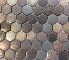 Mosaïque pâte de verre hexagone brun cuivre plaque - Achat de mosaïque salle de bain hexagonale