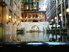 Water Fountain inside the World Trade Center in Montreal, via Flickr.