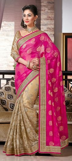 144168, Party Wear Sarees, Embroidered Sarees, Georgette, Net, Jacquard, Viscose, Patch, Lace, Resham, Pink and Majenta, Beige and Brown Color Family