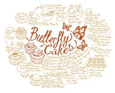 Butterfly Cakes, illustrated recipe instructions.