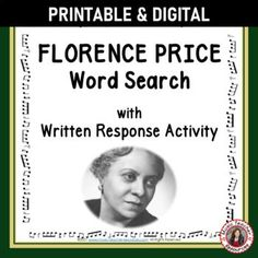 Your students are not merely finding words in the word search - they are also learning about FLORENCE PRICE by researching what these words have to do with her life and music.►This resource is not your average word search! ►It has a research/written activity based on the words hidden in the word search. #musiceducation #mtr #mtrcomposers Child Teaching, Teaching Music, Music Worksheets, Worksheets For Kids, Music Classroom, Classroom Resources, Music Lessons, Music Education, Florence