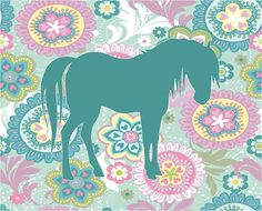 Teal Horse with Floral Background Print for Girl's Room/Nursery - 8x10 on Etsy, $10.72 CAD
