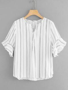 e5eca52a2c4d6b Flounce Sleeve Stripe Blouse. V Neck BlouseBlouse OnlineBell SleevesBell  Sleeve TopTunic Tops