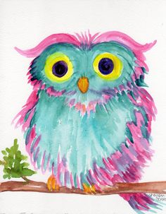 Owl watercolors paintings original, Colorful Bird art, owl art,  original watercolor of Pink and Aqua owl, whimsical owl art
