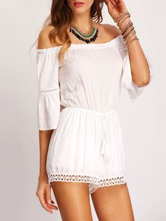 Trendy white off the shoulder romper. Summer white crochet jumpsuit. Casual rompers, white jumpers, white jumpsuits. Fabric:Fabric has no stretch Season:Summer Pattern Type:Plain Color:White Sleeve Le