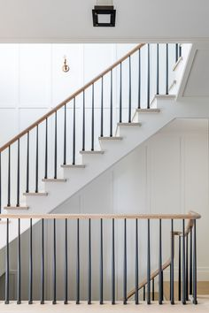 Main Street — Alicia Murphy Design Metal Stair Railing, Stair Railing Design, Staircase Railings, Wooden Staircases, Stairways, Oak Handrail, Bannister, Spiral Staircase, House Staircase