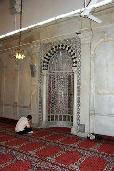 Gebed bij de qibla van de Omajjadenmoskee in Damascus. Foto: Marco in 't Veldt