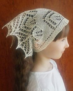 Free Knitting Pattern for Spring Spirits Kerchief - Lace kerchief designed by Yulia Zakhlebina was inspired lace shawls. Available in English and Russion