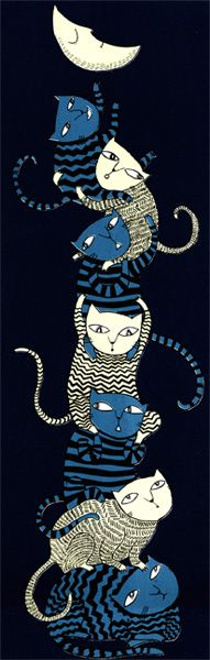 Talented artist. Liking the expressions on the cat's faces.   Seven Cats, trying to steal the moon - Mina Braun