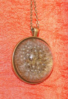 Real Dandelion / Cabochon Bronze / Chain Pendant Necklace Jewelry #Handmade #Chain