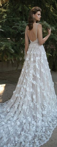 Berta embroidered A-line wedding dress with 3D florals, Berta Spring ...