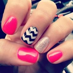 Pink, black & white striped nails.