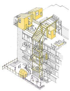 Image 2 of 11 from gallery of UN-Habitat Announces Winners of Mass Housing Competition. In Valencia, the housing block is altered by temporary additions. Image Courtesy of Improvistos Nunca Vistos (María Tula García Méndez & Gonzalo Navarrete Mancebo) Architecture Sketches, Architecture Graphics, Architecture Portfolio, Architecture Plan, Drawing Architecture, Architecture Diagrams, Axonometric Drawing, Planer Layout, Concept Diagram