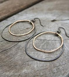 Mixed Metal Double Hoop Earrings by Silversheep Jewelry on Scoutmob Shoppe. $48