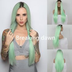 Halloween Kylie jenner Heat Resistant GluelessTwo Tone Silky Straight Mint Green Ombre Hair Dark Roots Synthetic Lace Front wig