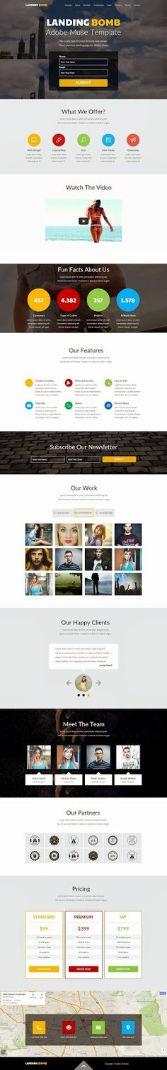 Responsive Landing Page Adobe Muse Template 2015 #Onepage #marketing