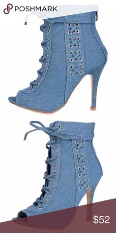QUINCE DENIM BOOTIE ON DEMAND  Make sure your fall street style is on point this season with these knockouts!  Features decorative lace up sides, accented with metal grommets and ankle collar.  Adjustable lace up front with back zipper closure. Peep toe paired with a stiletto heel.  Man made materials.  Approximate heel height 4 inches SHIPPING MIGHT TAKE UP TO 3 DAYS DUE TO AVAILABILITY boutique Shoes Ankle Boots & Booties