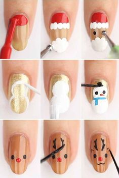77 Easy Winter Nail Art Ideas you Should to Try Now - Bellestilo Xmas Nail Art, Cute Christmas Nails, Xmas Nails, Christmas Nail Art Designs, Winter Nail Art, Holiday Nails, Winter Nails, Santa Nails, Christmas Makeup