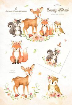 wedding invitations watercolor ad: Lovely Forest Watercolor Clip Art by everysunsun on creativemarket Forest Animals, Woodland Animals, Watercolor Animals, Watercolor Art, Watercolor Wedding, Baby Animals, Cute Animals, Clip Art, Art Mural