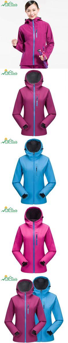 LoClimb Outdoor Camping Hiking Female Jackets Fleece Softshell Waterproof Women's Windbreaker Trekking Ski Sport Jacket,AW098