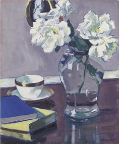 F C B Cadell | White Roses in a Glass Vase