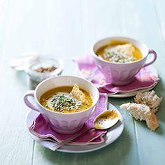 Spicy pumpkin soup with parmesan crisps