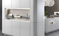 OpenHaus Kitchens - Rational Kitchens - German Kitchen - Cambia - Soft Lacquer - Silk Grey - Handless - Curved door