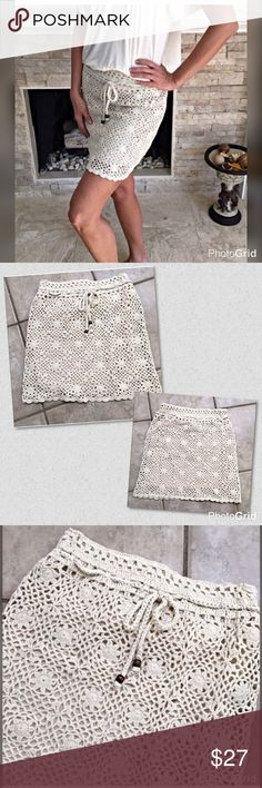 Ivory fully lined crochet drawing skirt Darling for spring! Drawstring waist with wooden beads - super cute - nice stretch Skirts