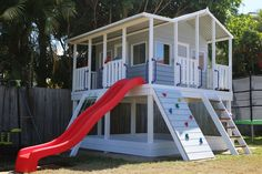 Plans of Woodworking Diy Projects - Taj Mahal Cubby House - Elevation with added Accessories Get A Lifetime Of Project Ideas & Inspiration! Kids Backyard Playground, Backyard Playset, Backyard Playhouse, Build A Playhouse, Backyard For Kids, Backyard Projects, Diy Projects, Outdoor Playset, Garden Kids