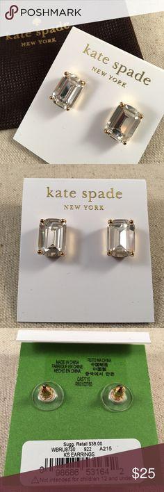 New Kate Spade Emerald Cut Studs New Kate Spade Emerald Cut Studs Clear kate spade Jewelry Earrings