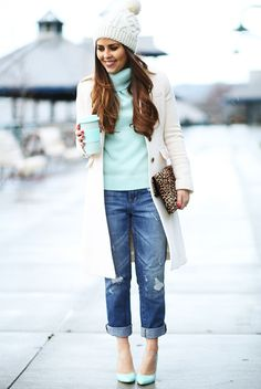fall / winter - street style - street chic style - winter outfits - casual outfits - white pom pom beanie + white coat + mint turtleneck sweater + boyfriend jeans + mint heels + leopard print clutch