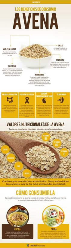 Avena propiedades  Pinterest ;) | https://pinterest.com/cocinadosiempre/  Pinterest | https://pinterest.com/elcocinillas/