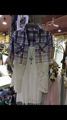 Repurposed refashioned plaid shirt with added lace hem. Could do a hi-low hem as well to wear with leggings
