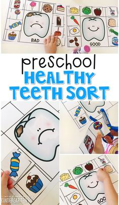 Preschool: Healthy Habits Learn about foods that are good and bad for your teeth with this healthy teeth sort. Great for a Healthy Habits theme in tot school, preschool, or even kindergarten. Body Preschool, Preschool Lessons, Preschool Learning, Preschool Crafts, Preschool Activities, Preschool Pictures, Space Activities, Healthy Crafts For Preschool, Doctor Theme Preschool