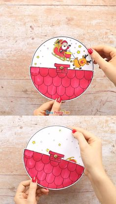 Diy Crafts - Make our Santa Spinner Christmas Craft, it's one of the easiest paper toys for kids to make. Christmas Card Crafts, Christmas Activities, Christmas Projects, Kids Christmas, Holiday Crafts, Fun Crafts, Christmas Decorations, Christmas Crafts For Kids To Make At School, Santa Crafts