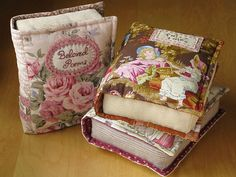 Quilted Books by Patchwork Pottery Book Pillow, Book Quilt, Fabric Crafts, Sewing Crafts, Sewing Projects, Pin Cushions, Pillows, Needle Book, Book Crafts