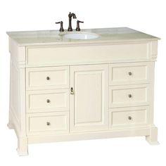 Bellaterra Home 50 Inch Single Sink Vanity Set   Base Finish: Wood Cream  White