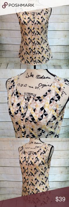 White House Black Market Top Sleeveless top featuring yellow, beige, black, and white color pattern. Brand - White House Black Market. Size S. Excellent, like new, condition. White House Black Market Tops Blouses