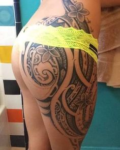 Image result for polynesian tattoo on thigh