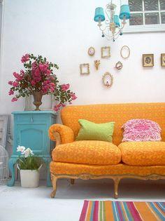 Tangerine, pink, spring green, aqua hues