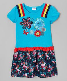 Another great find on #zulily! Blue Floral Ruffle A-Line Dress - Infant, Toddler & Girls #zulilyfinds
