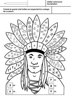 Les Indiens d'Amérique, coloriage selon un codage 2 - école maternelle Gellow