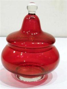 VINTAGE ITALIAN RUBY RED GLASS BOWL DISH LID FIGURE ART