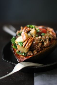 Stuffed Acorn Squash with Sausage, Apple, Parsnip and Sage