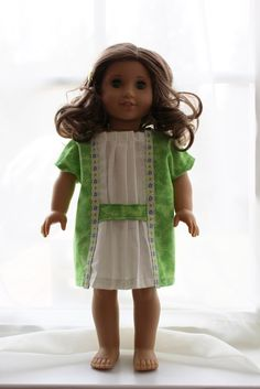 """Free """"H"""" dress pattern for 18"""" American Girl Dolls from Ruthie, Emily, and Me."""