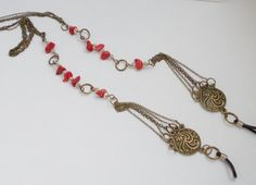 Red coral glasses chain Eyeglass chain by CrazyDreams888 on Etsy