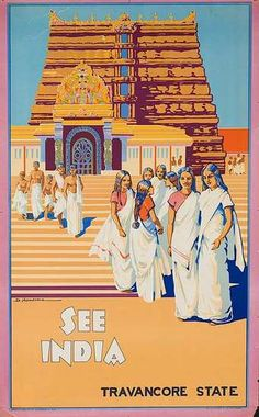See India. Travancore - Vintage Travel Poster #india Reminds me of the setting for Captured by Moonlight Book 2 of my series. www.christinelindsay.com