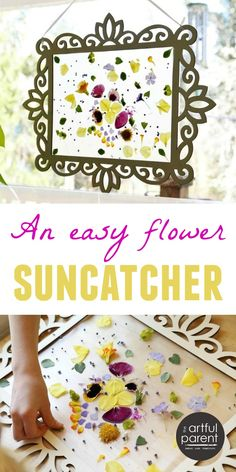 Make a beautiful flower petal contact paper suncatcher in a decorative wooden frame that can be reused for other contact paper suncatchers (ideas included). You could do this with Autumn flowers or even leaves as well!!