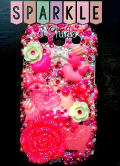 Love Pink Kawaii Decoden Bling Samsung by SparkleAndShineByLW, $45.00
